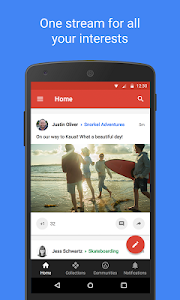 screenshot of Google+ version Varies with device