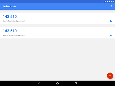 screenshot of Google Authenticator version 5.00