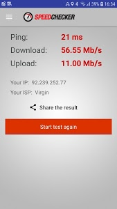 screenshot of Internet Speed Test by Speedchecker version 2.5.1