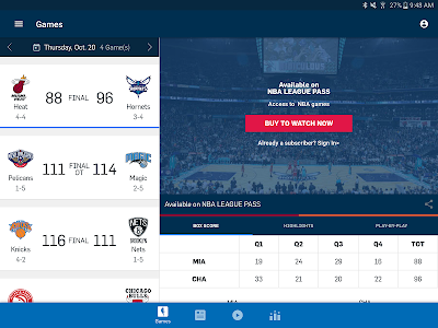 screenshot of NBA App version Varies with device