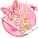 Download Pink Butterfly Eiffel Kitty Theme 1.1.3 APK