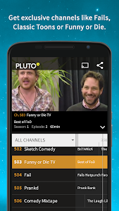 screenshot of Pluto TV: TV for the Internet version 1.27.4