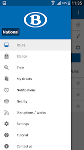 screenshot of SNCB National: train timetable/tickets in Belgium version Varies with device