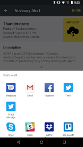screenshot of Saskatchewan Emergency Alert version 2.2