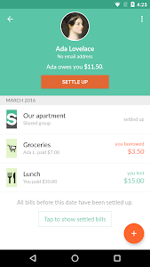screenshot of Splitwise version 4.0.4