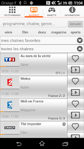 screenshot of TVcommande d'Orange version 2.1.3