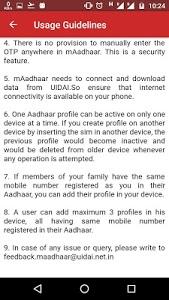 screenshot of mAadhaar version 1.1.2